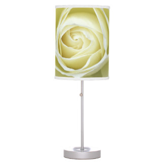 Close up details of white rose desk lamps