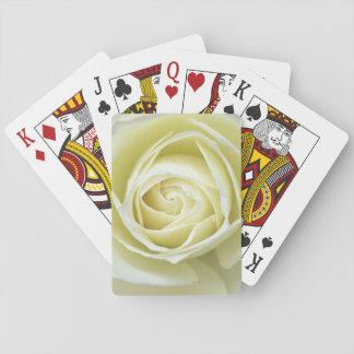 Close up details of white rose poker deck