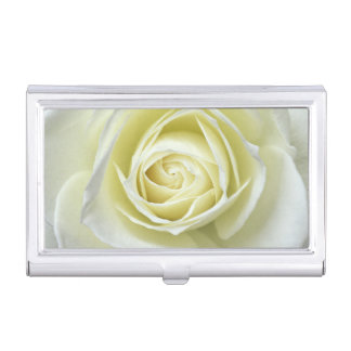 Close up details of white rose business card case