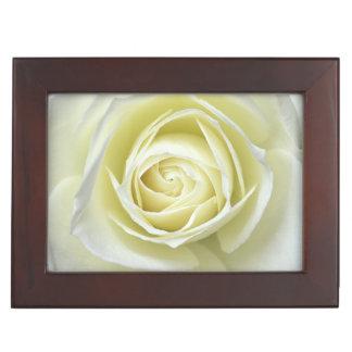 Close up details of white rose keepsake box
