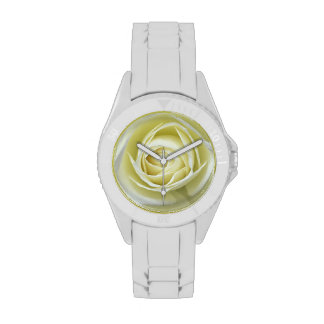 Close up details of white rose watches