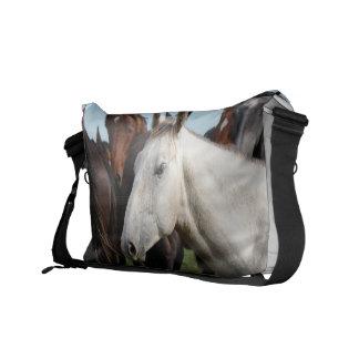 Close-up herd of horses messenger bags