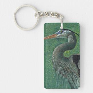 Close up heron Single-Sided rectangular acrylic keychain