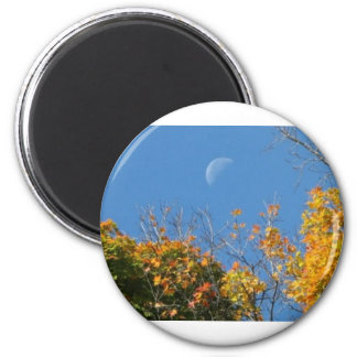 Close Up Moon Over Leaves 2 Inch Round Magnet