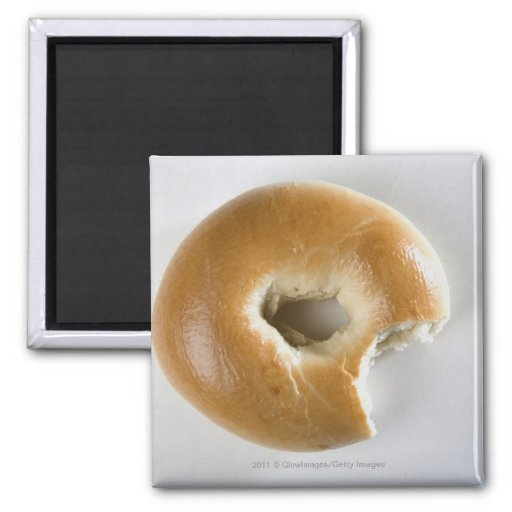 Close-up of a bagel fridge magnet
