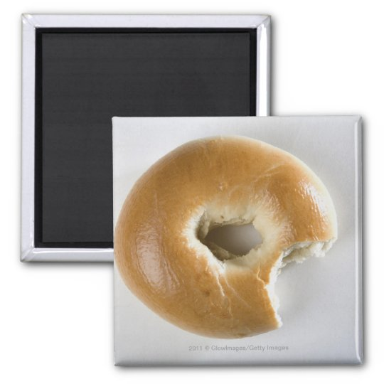 Close-up of a bagel magnet