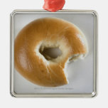Close-up of a bagel square metal christmas ornament