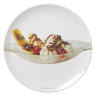 Close-up of a banana split dinner plate
