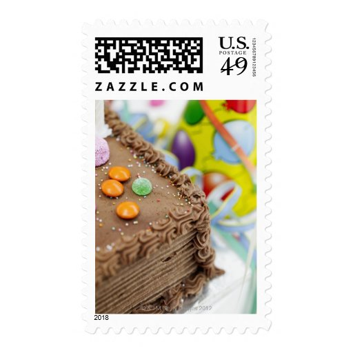 close-up of a birthday cake stamp