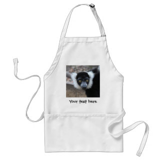 Close up of a Black and White Ruffed Lemur Adult Apron