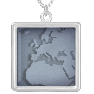 Close-up of a blue globe showing North Africa, Silver Plated Necklace
