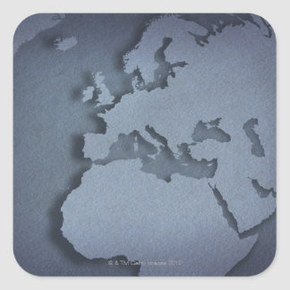 Close-up of a blue globe showing North Africa, Square Sticker
