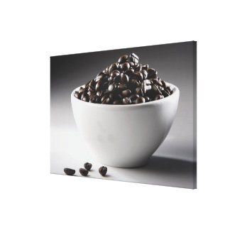 Close-up of a bowl full of coffee beans gallery wrapped canvas