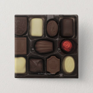 close-up of a box of assorted chocolates button