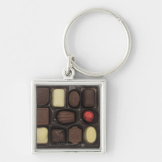 close-up of a box of assorted chocolates keychain