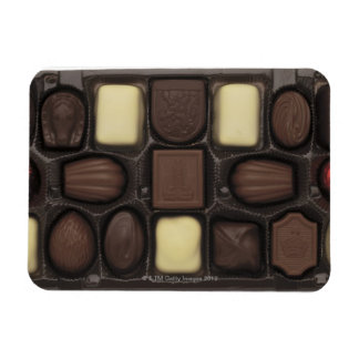 close-up of a box of assorted chocolates magnet