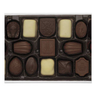 close-up of a box of assorted chocolates poster