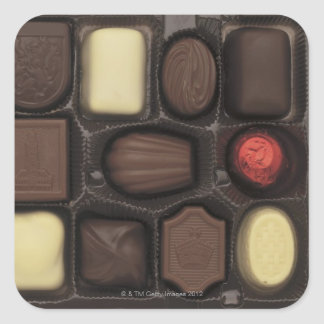 close-up of a box of assorted chocolates square sticker