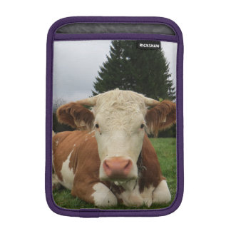 Close up of a brown and white cow laying down iPad mini sleeve