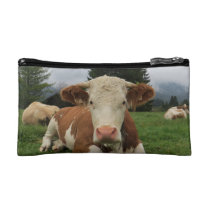 Close up of a brown and white cow laying down makeup bag
