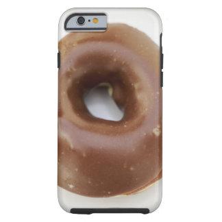 Close-up of a chocolate doughnut on a plate tough iPhone 6 case