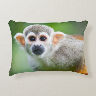 Close-up of a Common Squirrel Monkey Decorative Pillow