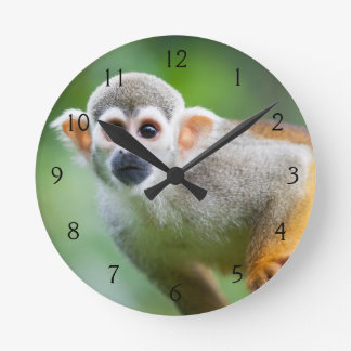 Close-up of a Common Squirrel Monkey Round Clock