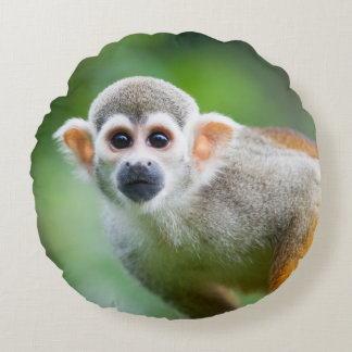 Close-up of a Common Squirrel Monkey Round Pillow