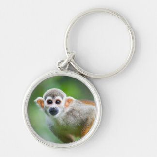 Close-up of a Common Squirrel Monkey Silver-Colored Round Keychain