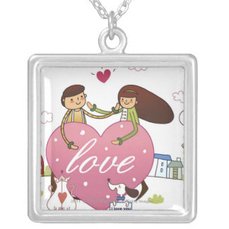 Close-up of a couple holding a heart shape square pendant necklace