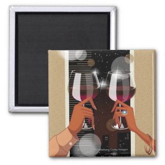 Close-up of a couple's toasting with wine glasses magnet