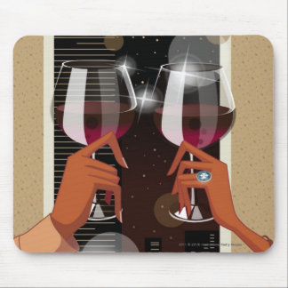 Close-up of a couple's toasting with wine glasses mouse pad