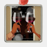 Close-up of a couple's toasting with wine glasses christmas ornament