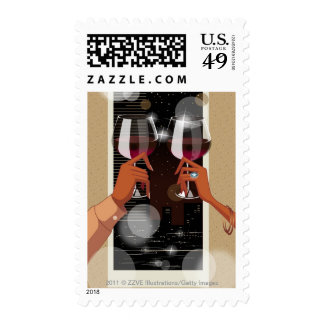 Close-up of a couple's toasting with wine glasses postage