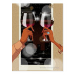 Close-up of a couple's toasting with wine glasses post cards