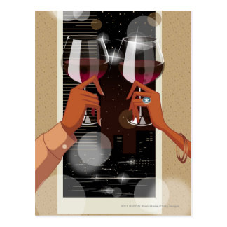 Close-up of a couple's toasting with wine glasses postcard