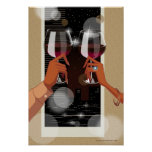 Close-up of a couple's toasting with wine glasses print