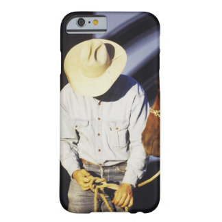 Close-up of a cowboy tying a rein barely there iPhone 6 case