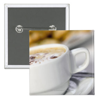 Close-up of a cup of coffee pinback buttons