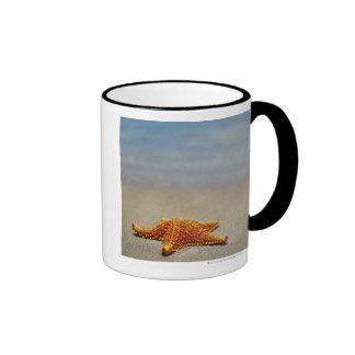 Close-up of a Cushion Starfish Ringer Coffee Mug