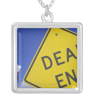 Close-up of a dead end sign, Texas, USA Silver Plated Necklace