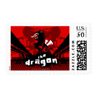 Close-up of a dragon with text postage