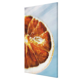 Close-up of a dried slice of lemon canvas print