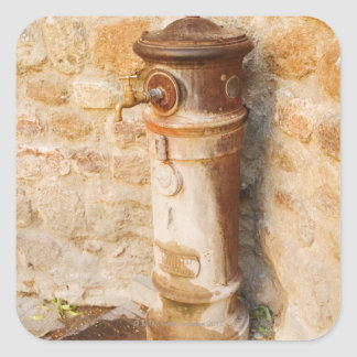 Close-up of a faucet, Siena Province, Tuscany, Square Sticker