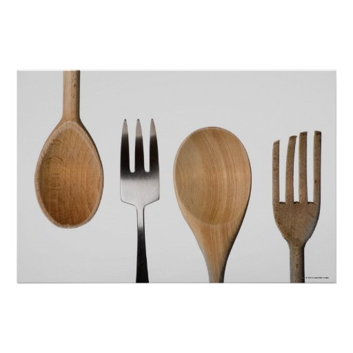 Close-up of a fork with a wooden spoon poster