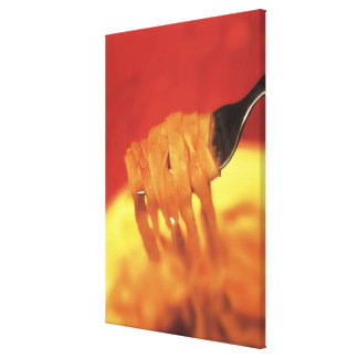 close-up of a forkful of pasta canvas print