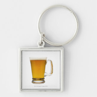 Close up of a glass of beer 2 Silver-Colored square keychain