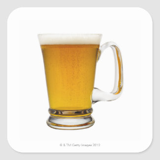 Close up of a glass of beer 2 square sticker