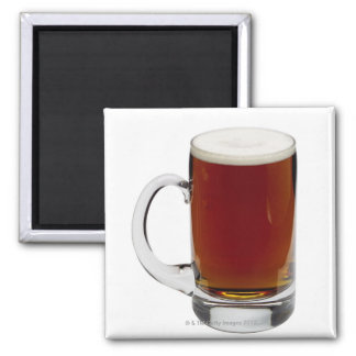 Close up of a glass of beer 3 2 inch square magnet