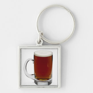 Close up of a glass of beer 3 Silver-Colored square keychain